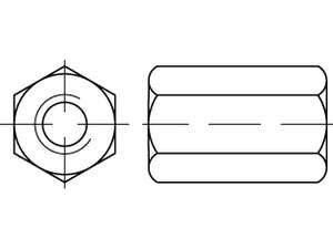 DIN 6334 Sechskantmuttern Stahl Klasse 10 galvanisch verzinkt