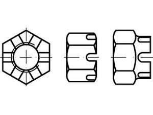 DIN 935 Kronenmuttern Stahl Klasse 6