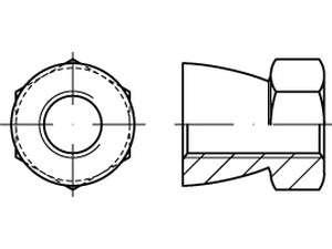 Abreissmuttern mit Sechskant-Abreiß-Antrieb Edelstahl A1/A2