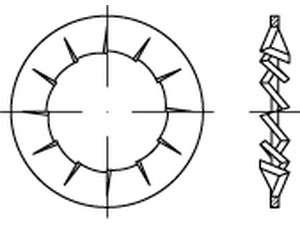 DIN 6798 Fächerscheiben innengezahnt Federstahl galvanisch verzinkt