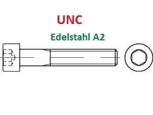 UNC ähn. DIN 912 Zylinderschrauben mit Innensechskant Edelstahl A2