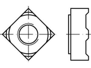 DIN 928 Vierkant-Schweißmutter Stahl