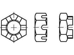DIN 937 Kronenmuttern niedrige Form Stahl 17 H