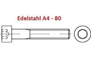 DIN 912 / ISO 4762 Zylinderschrauben m. Innensechskant Edelstahl A4-80