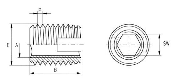 Ensat Gewindeeinsätze Typ SI 302200 Stahl verzinkt Innensechskant