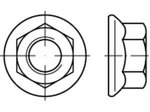 DIN 6923 Sechskantmuttern mit Flansch Klasse 8 galvanisch verzinkt
