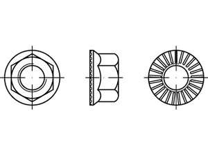 Sechskant - Rippmuttern mit Flansch Sperr-Rippen Stahl 10 verzinkt