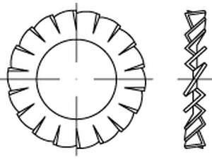 DIN 6798 Fächerscheiben außengezahnt Federstahl galvanisch verzinkt