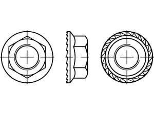 Sechskant - Sperrzahnmuttern mit Flansch Stahl galvanisch verzinkt